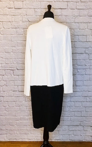 Max Mara Black/Ivory Colorblock Sweater Duster