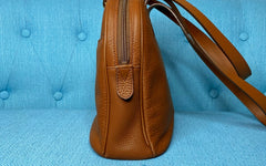 Burberry Vintage 'Burberrys' Cinnamon Leather Nova Check Bag