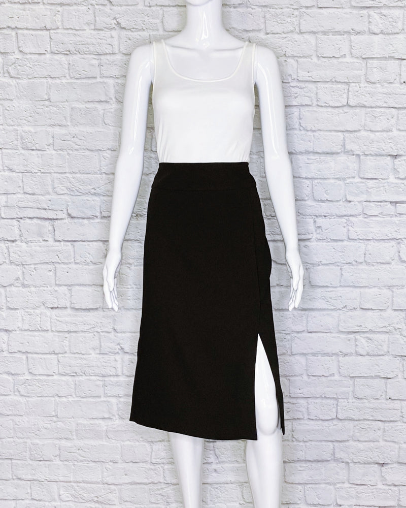 Vince Black Knee-Length Accented A-line Skirt