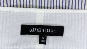 Lafayette 148 Neutral Striped Cotton Dress