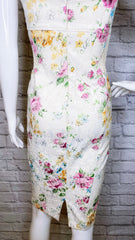 David Meister Vintage Floral Jacquard Brocade Corset Dress