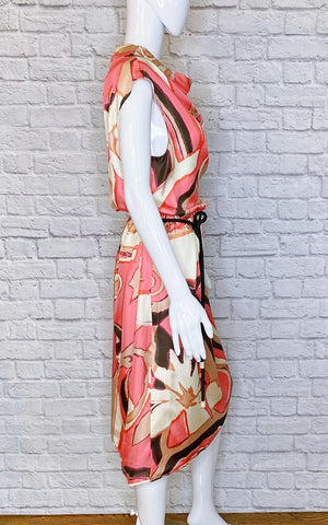 Marc Jacobs Pink Multi Draped Cowl-Neck Midi Dress