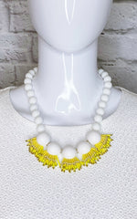 Kate Spade New York Yellow and White Beaded Fringe Necklace
