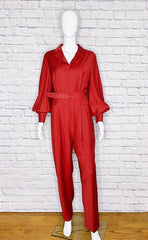 Emilia Wickstead Virgin Wool Burgundy Belted Jumpsuit