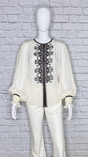 Oscar de la Renta Silk Embellished Long Sleeve Blouse
