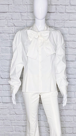 Carolina Herrera Bow-Accented Button Up Blouse