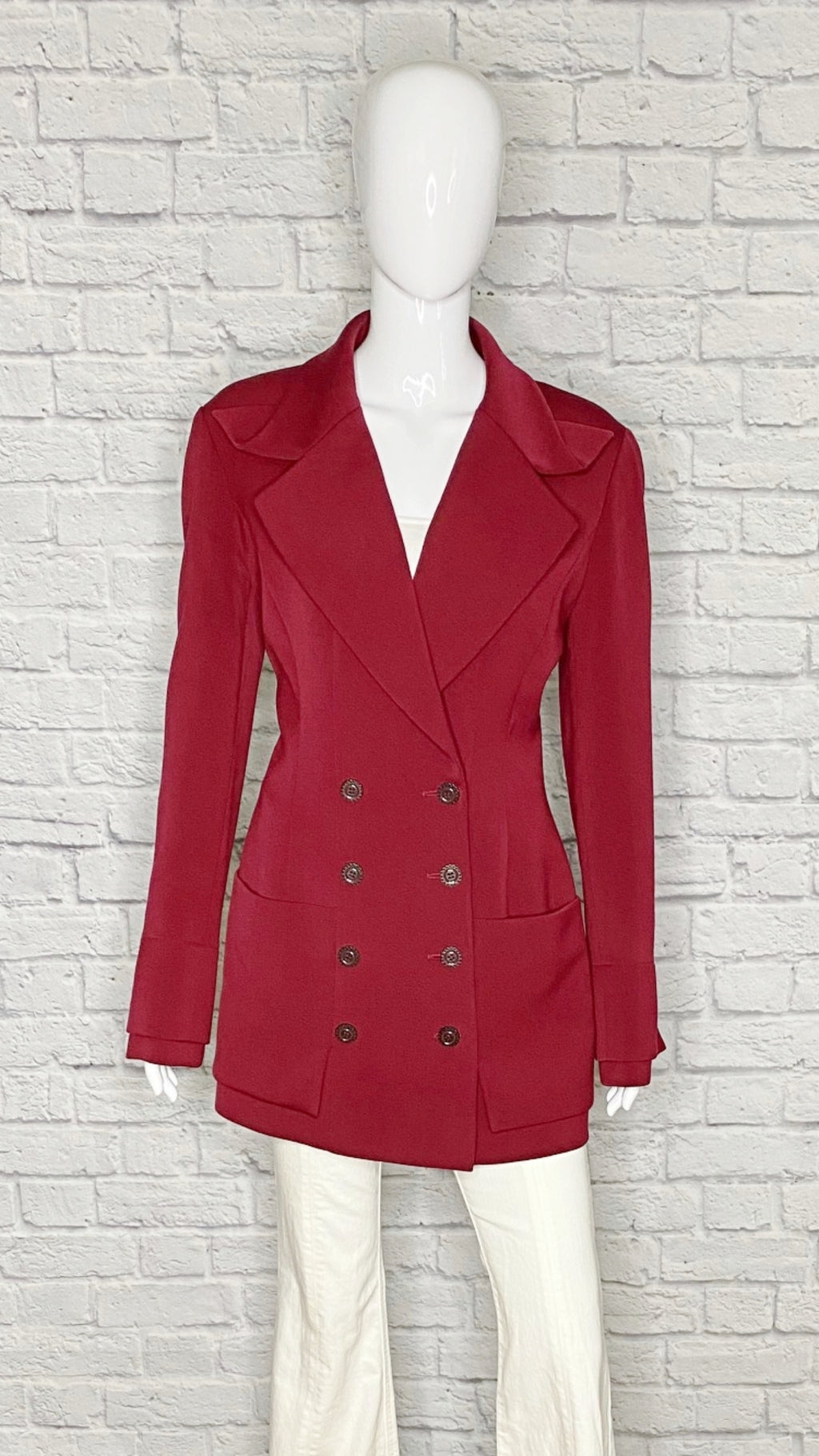 Karl Lagerfeld (of Chanel) 80s Vintage Wool Burgundy Blazer