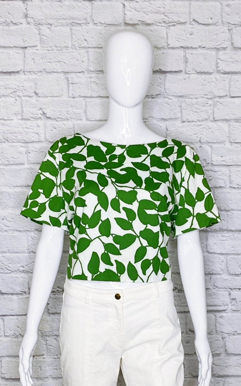Kate Spade New York Garden Leaves Stretch Cotton Crop Top