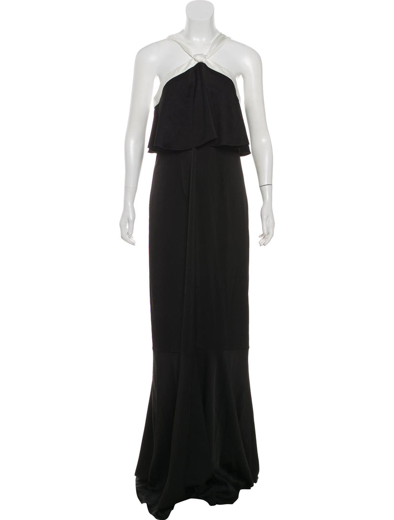 Rachel Zoe Black & White Halter Evening Gown