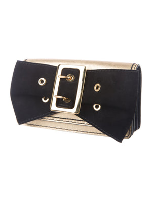 Burberry Metallic Leather Bow Clutch