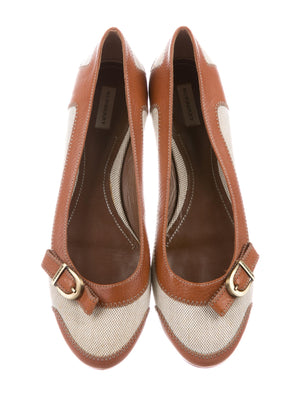 Burberry Leather Round-Toe Flats