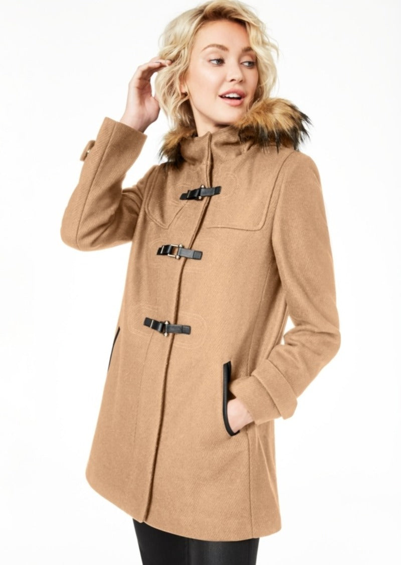 Cole Haan Signature Faux-Fur Trim Duffle Coat