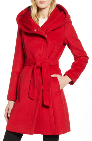 Cole Haan Signature Hooded Red Coat