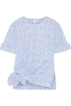 Derek Lam 10 Crosby Diamond Knotted Cotton-Blend Top