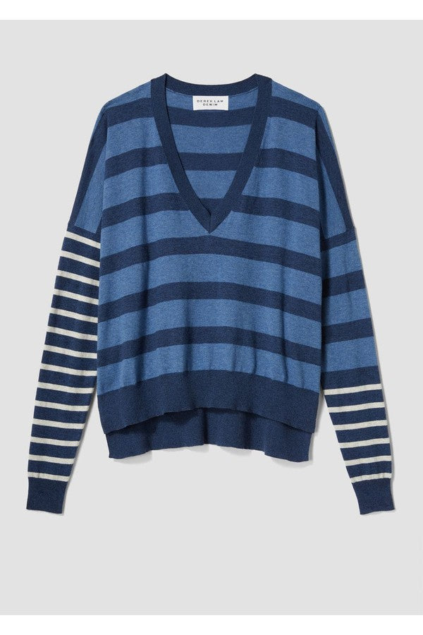 Derek Lam 10 Crosby V-Neck Striped Pullover