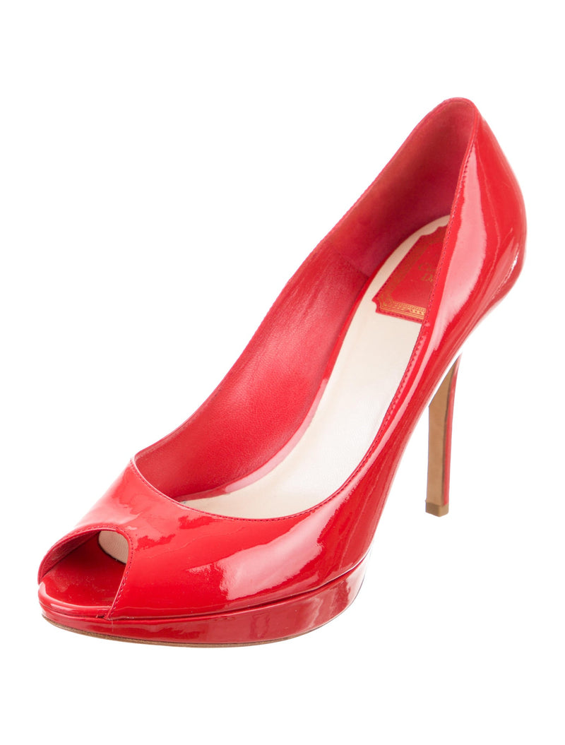 Christian Dior Leather Logo Peep-Toe Pumps