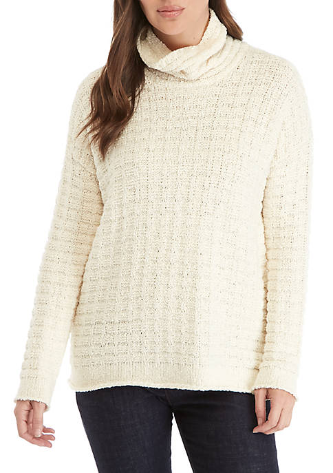 Eileen Fisher Cowl-Neck Cable Knit Sweater