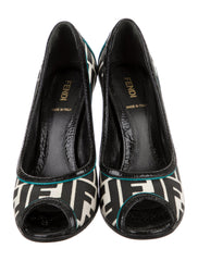 Fendi FF Peep-Toe Logo Pumps