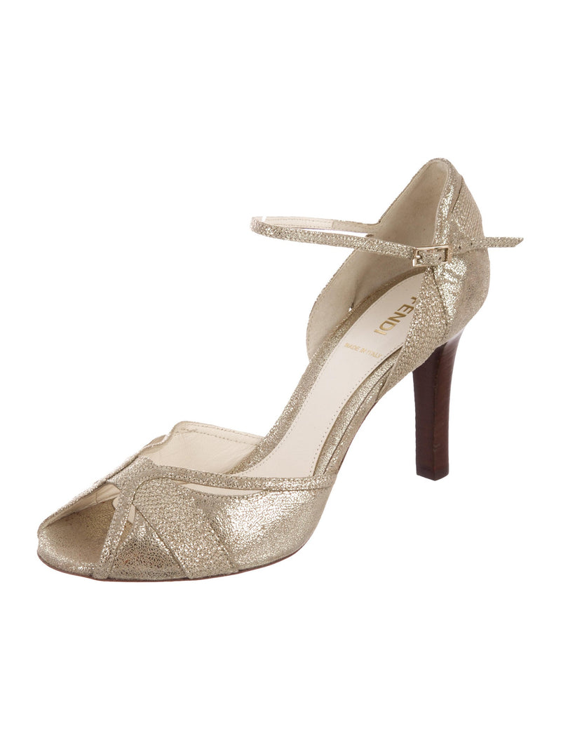 Fendi Metallic Leather Ankle Strap Pumps