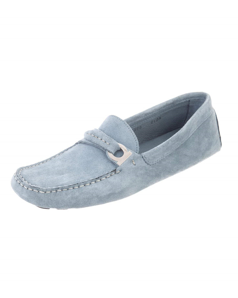 Salvatore Ferragamo Blue Suede Logo Loafers