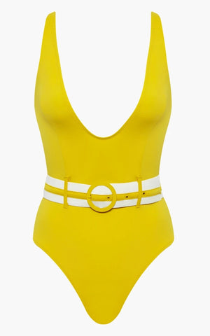 Solid & Striped 'Victoria' Belted Yellow One-Piece Swimsuit