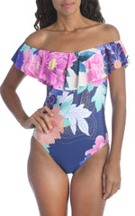 Trina Turk 'Opulent' Floral Off-the-Shoulder One-Piece Swimsuit