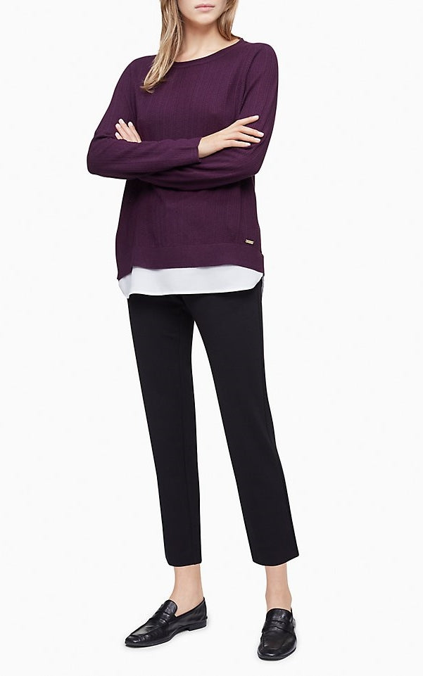 Calvin Klein Scoop Neck Double Layer Sweater
