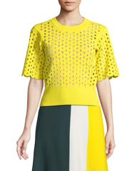 Derek Lam Cropped Lasercut Stretch-Knit Top