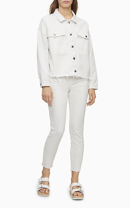 Calvin Klein Oversized White Denim Trucker Jacket