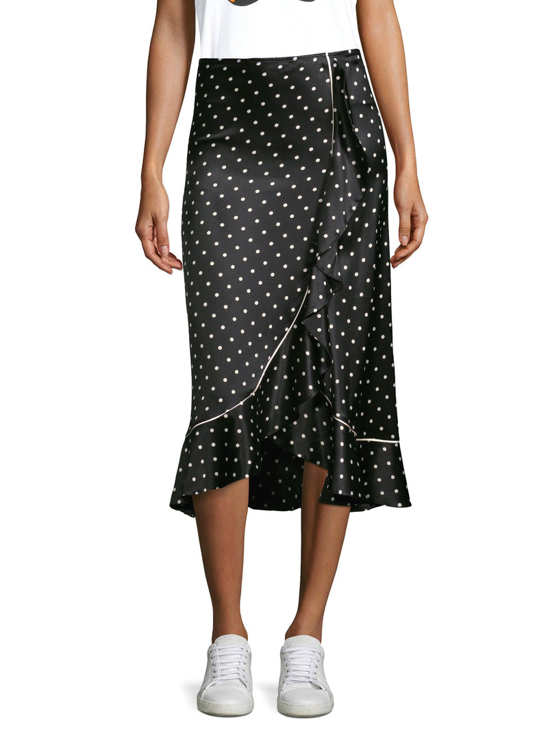 GANNI Polka Dot Silk Midi Skirt