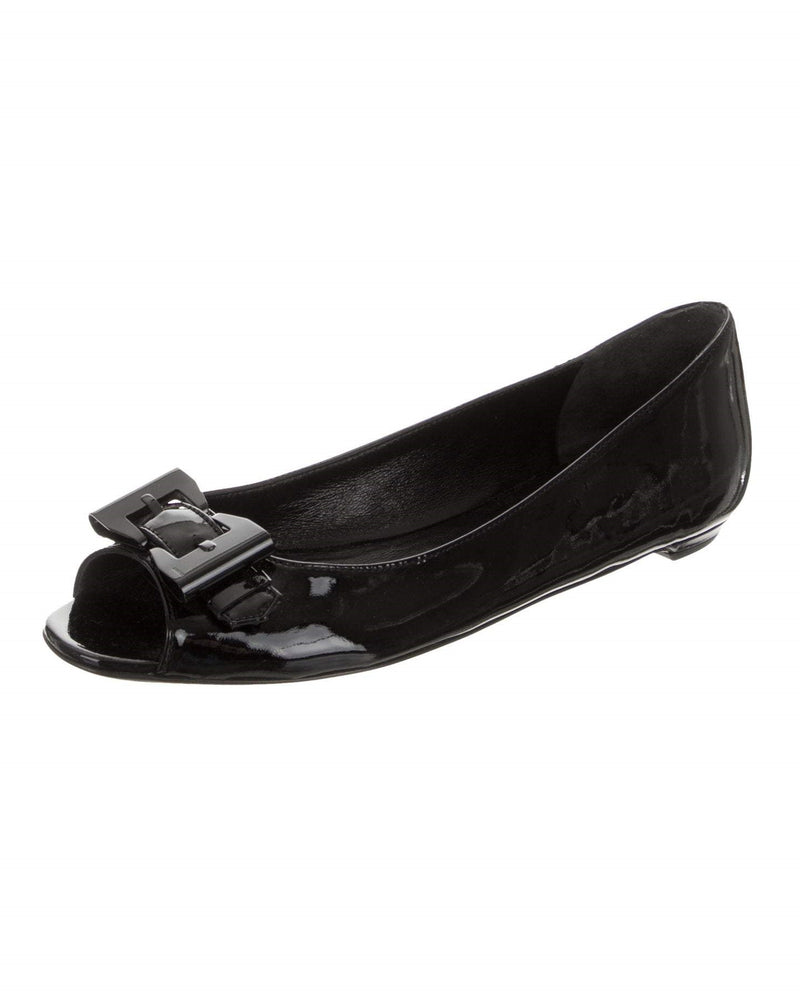 Gucci Patent Leather Peep-Toe Ballet Logo Flats