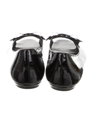 Gucci Patent Leather Peep-Toe Ballet Flats