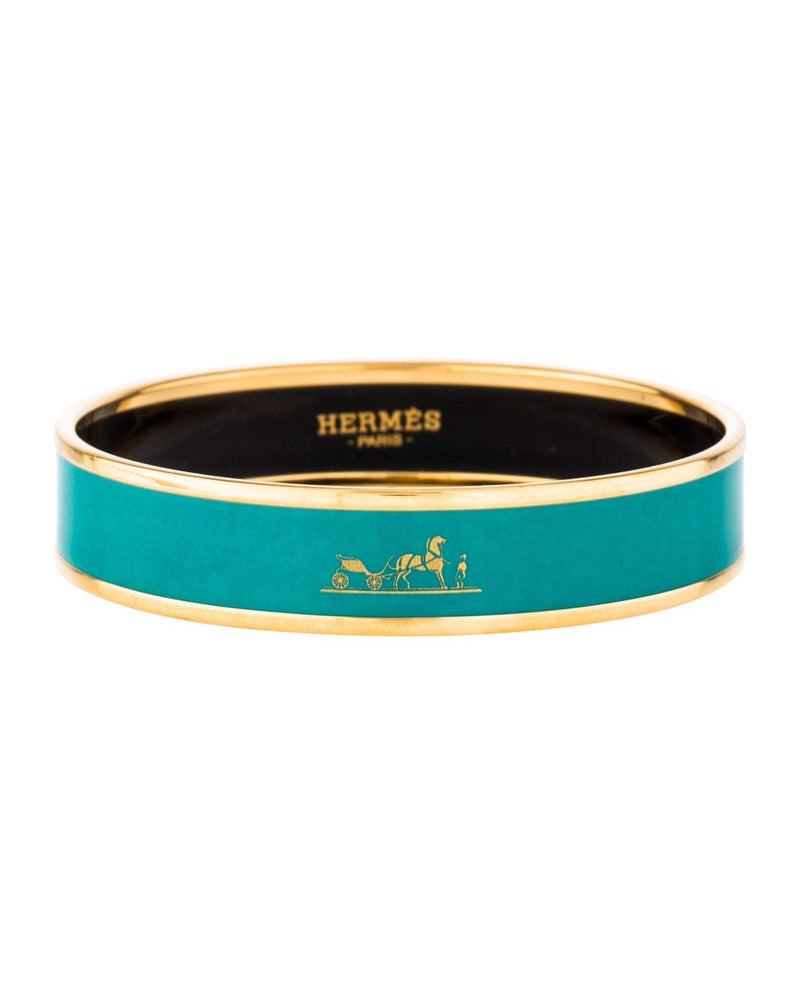 Hermes Narrow Caleche Logo Bangle