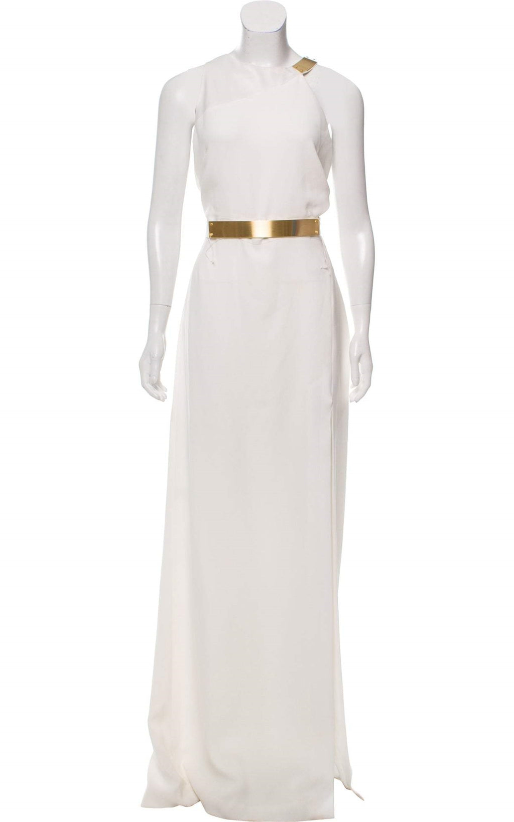 Halston Heritage Ivory Gold-Plated Evening Gown