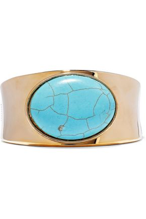 Kenneth Jay Lane 22-Karat Gold-Plated Stone Cuff