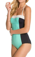 Kate Spade New York 'Parrot Cay' Colorblock Halter One-Piece Swimsuit