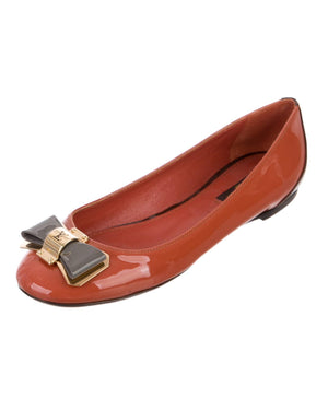 Louis Vuitton Patent Leather Ballet Bow Logo Flats