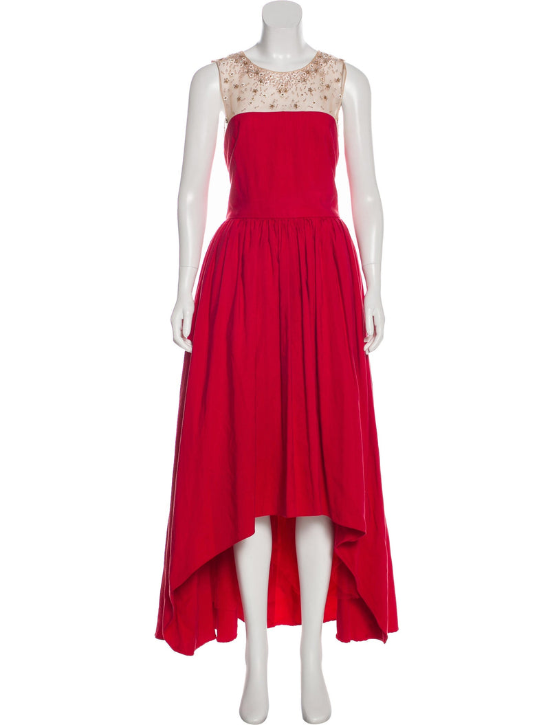 Marchesa Notte Silk-Blend High-Low Gown