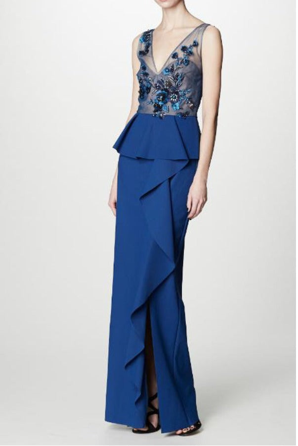Marchesa Notte Embellished Sequined Column Gown