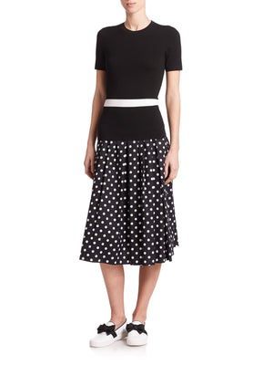 Michael Kors Collection Polka-Dot Knee-Length Skirt