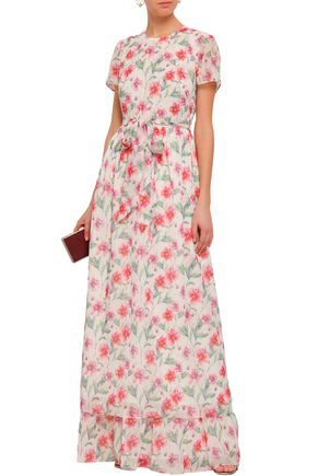 Mikael Aghal Belted Georgette Floral Gown
