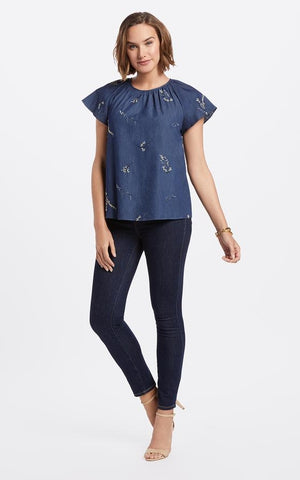 Draper James Embroidered Chambray Swing Top