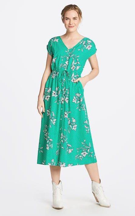 Draper James Floral Dots V-Neck Button Front Dress