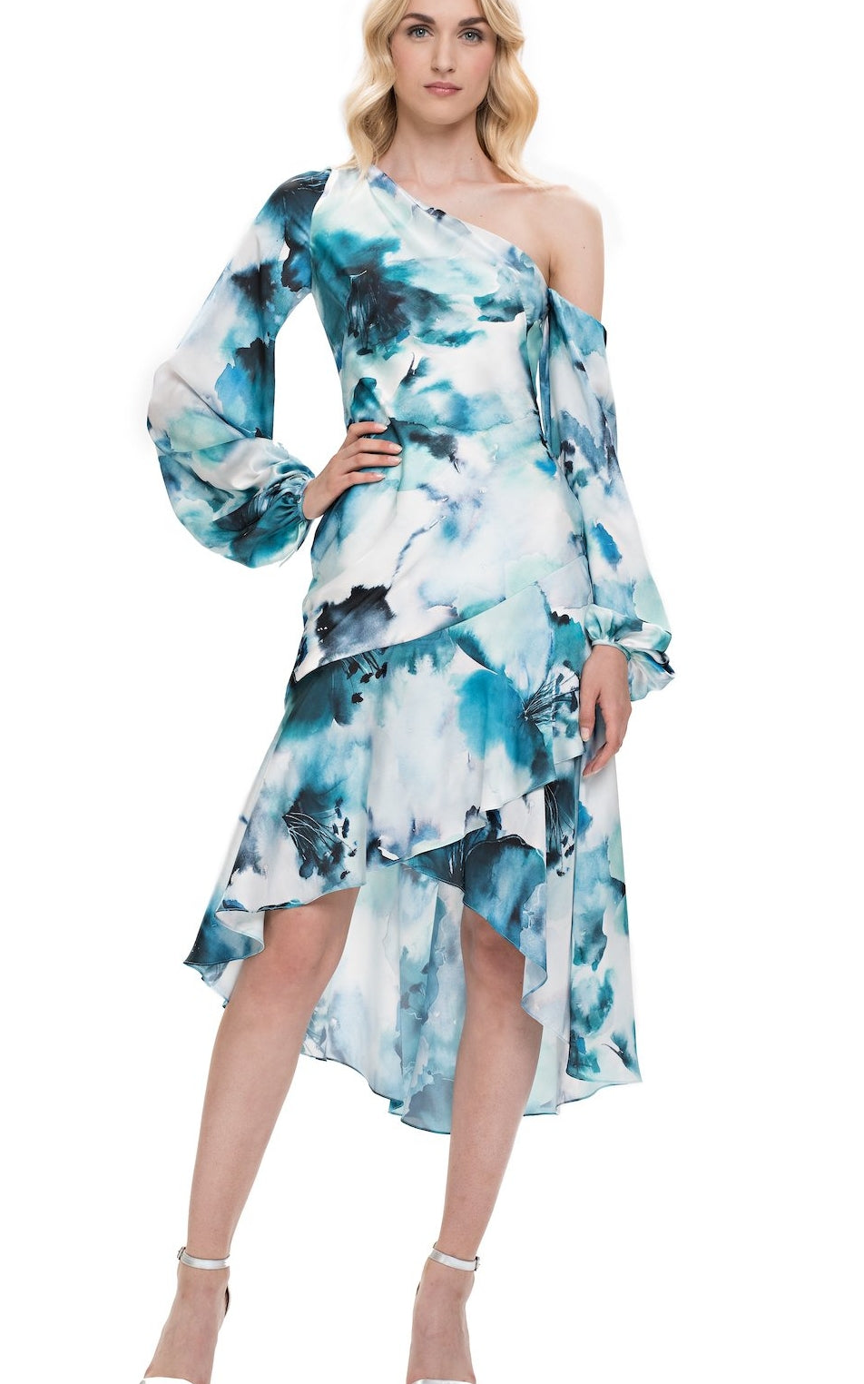 Theia One-Shoulder Draped Watercolor Hibiscus Dress