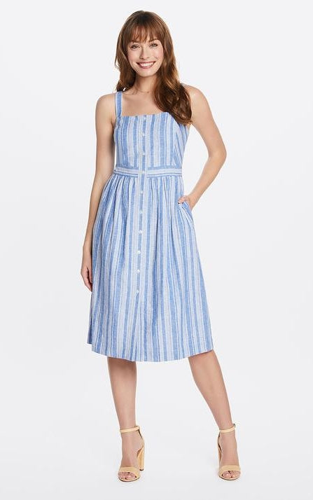 Draper James Linen Striped Button Front Midi Dress