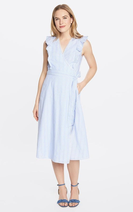 Draper James Embroidered Striped Flounce Wrap Dress