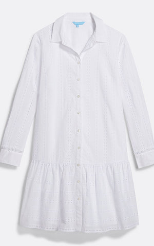 Draper James Striped Eyelet Flounce Shirtdress