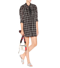 Marc Jacobs Black/White Plaid Cotton Shirt Dress