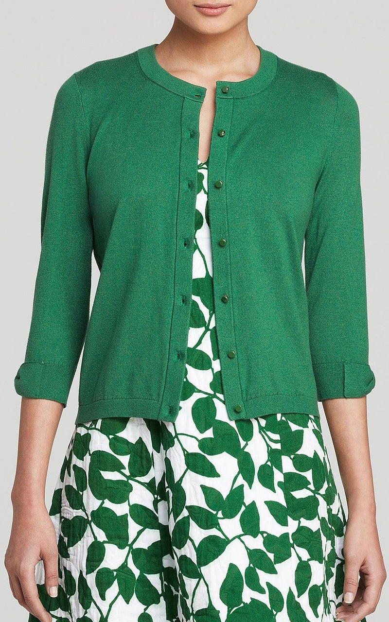 Kate Spade New York Somerset Green Cashmere-Blend Cardigan