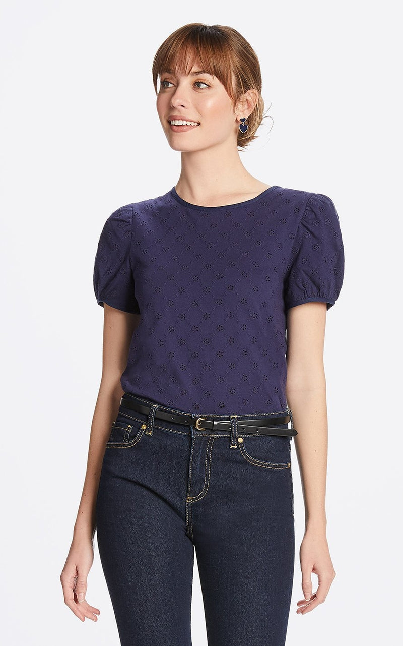 Draper James Puff Sleeve Eyelet Top